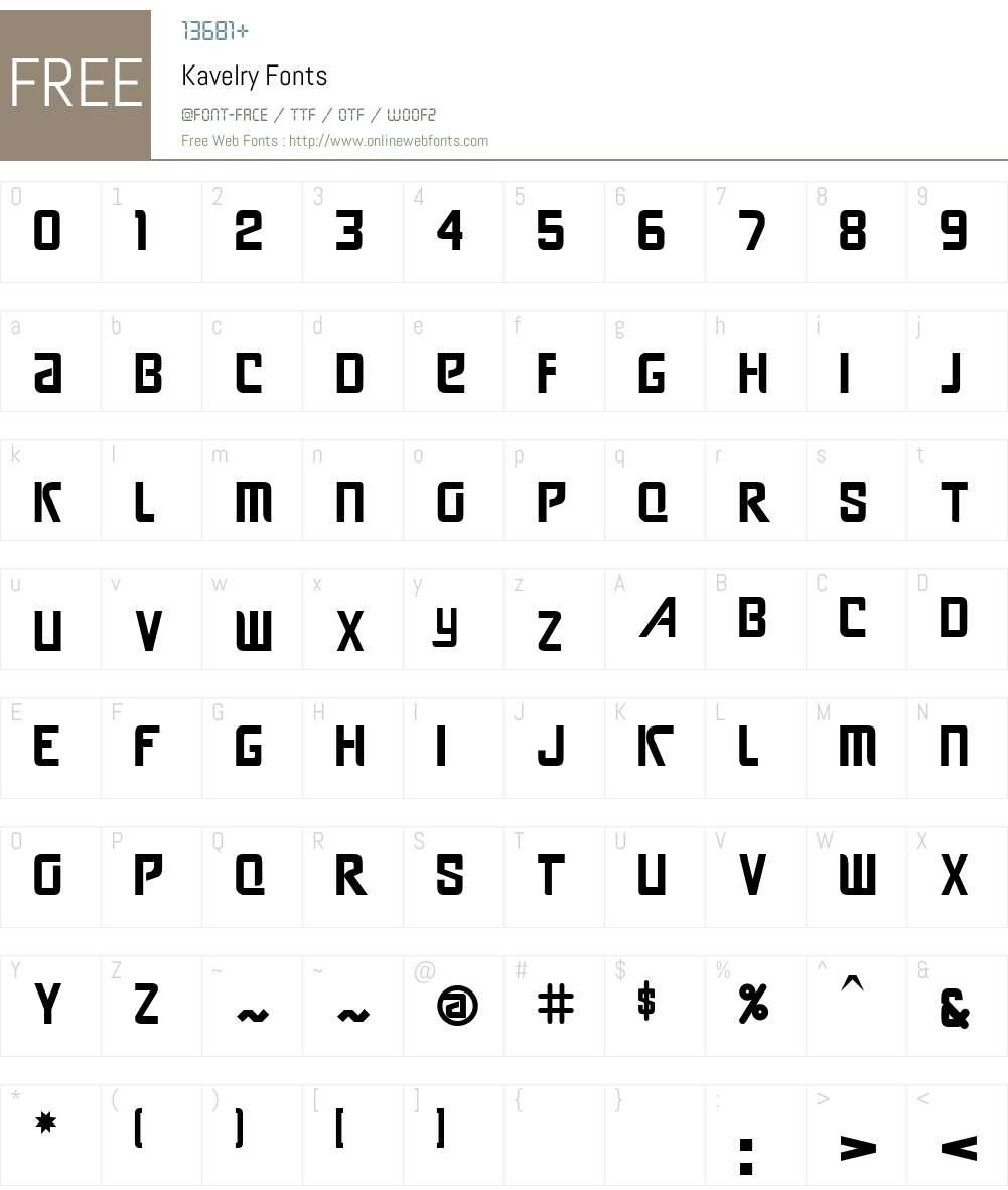 Kavelry Font Screenshots