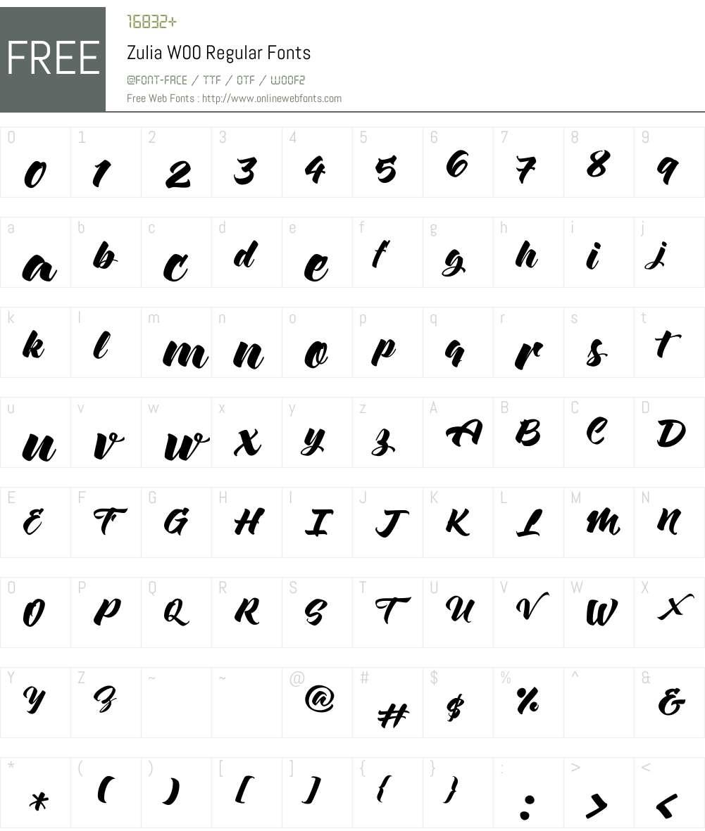 ZuliaW00-Regular Font Screenshots