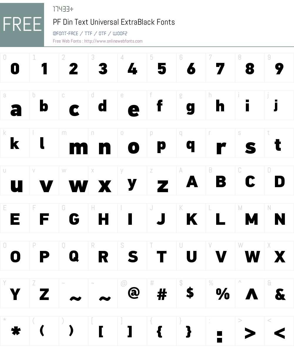 PF Din Text Universal Font Screenshots