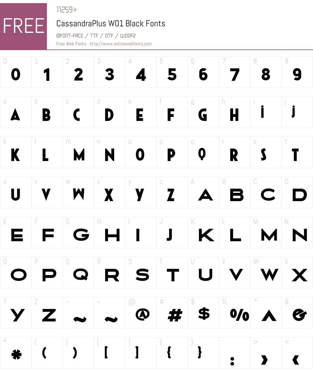 CassandraPlusW01-Black Font Screenshots