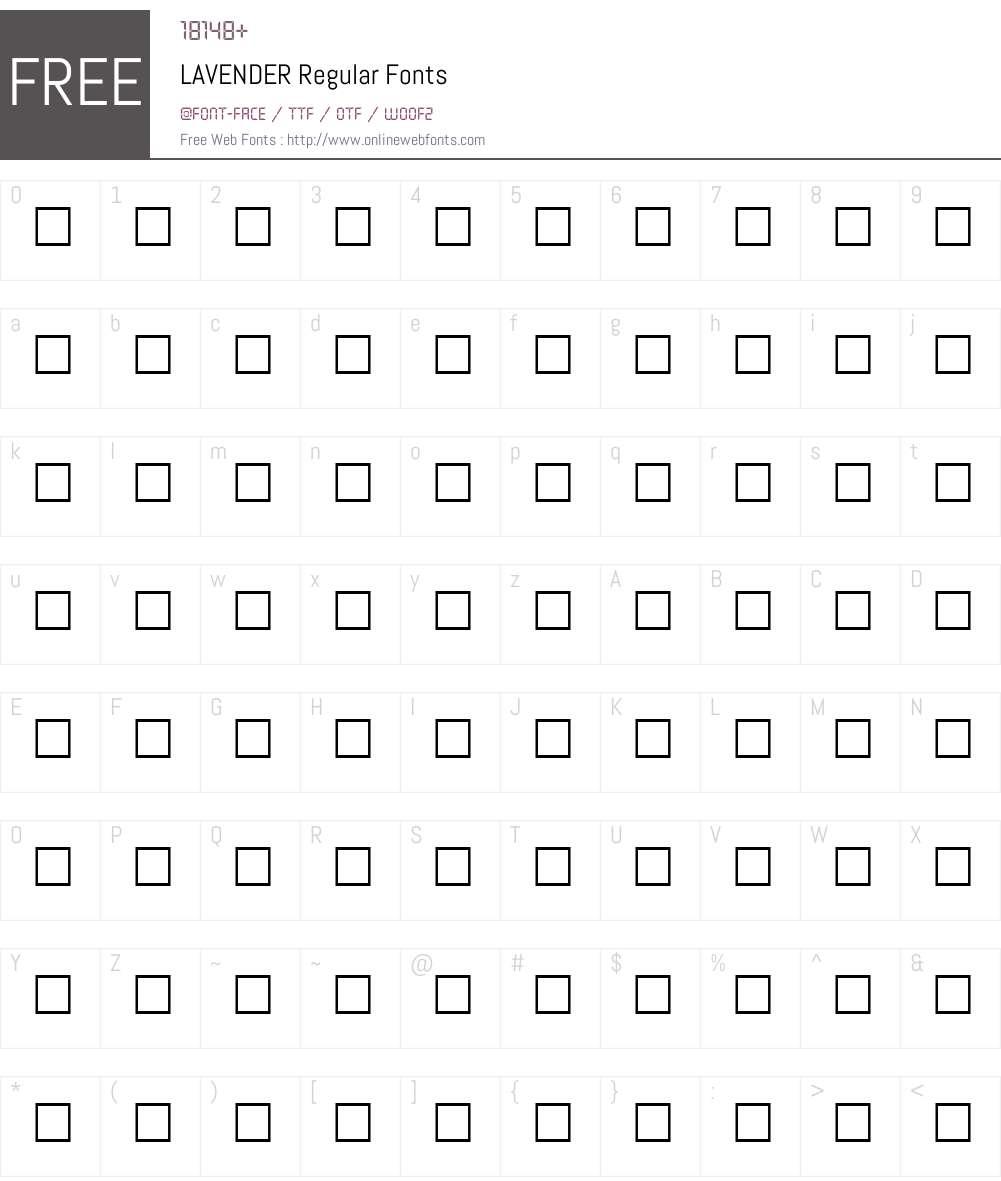 LAVENDER Font Screenshots