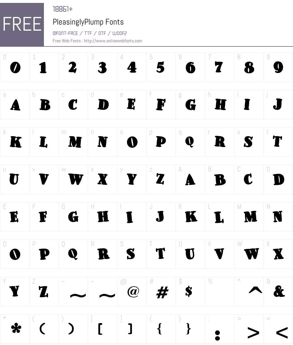 PleasinglyPlump Font Screenshots
