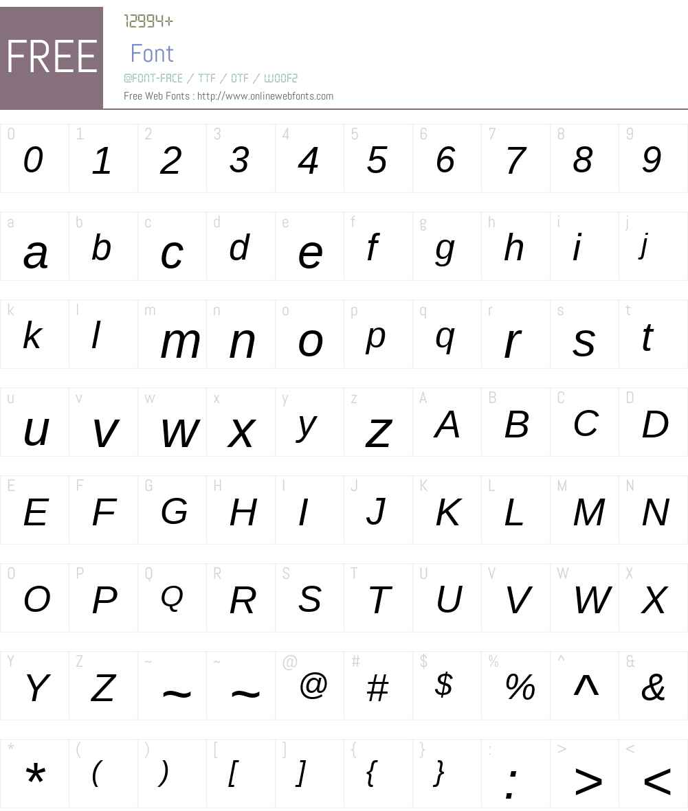 AscenderSansW01-Italic Font Screenshots