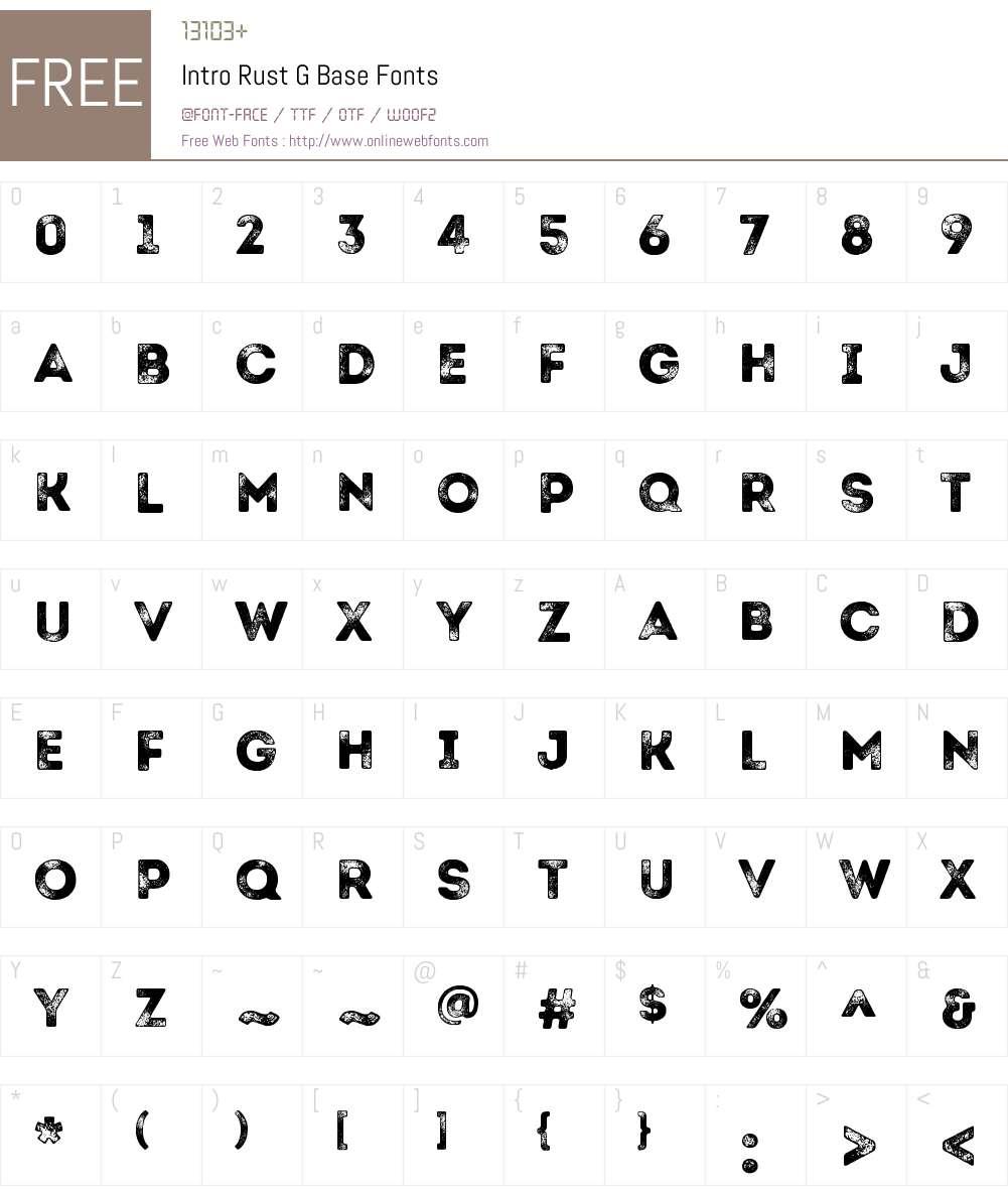 Intro Rust G Base Font Screenshots