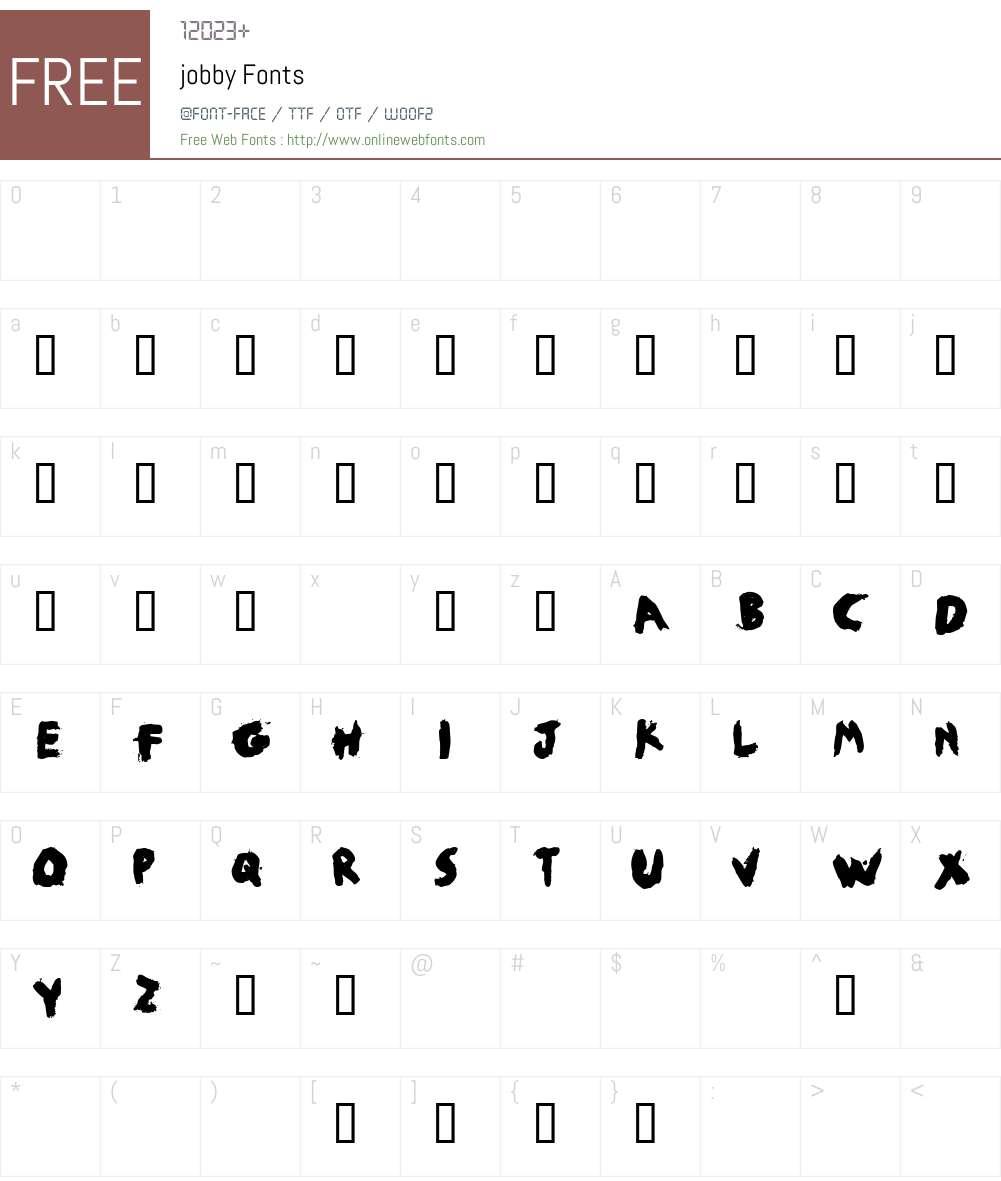 jobby Font Screenshots