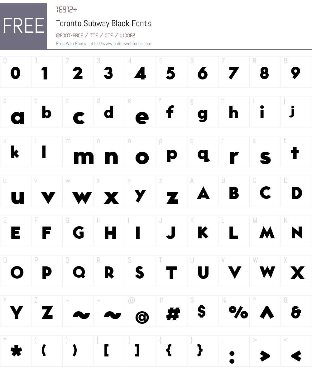 TorontoSubway-Black Font Screenshots