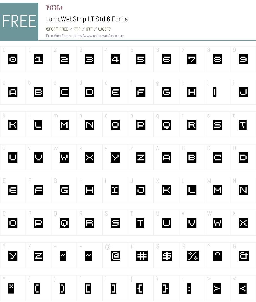 LomoWebStrip LT Std 6 Font Screenshots