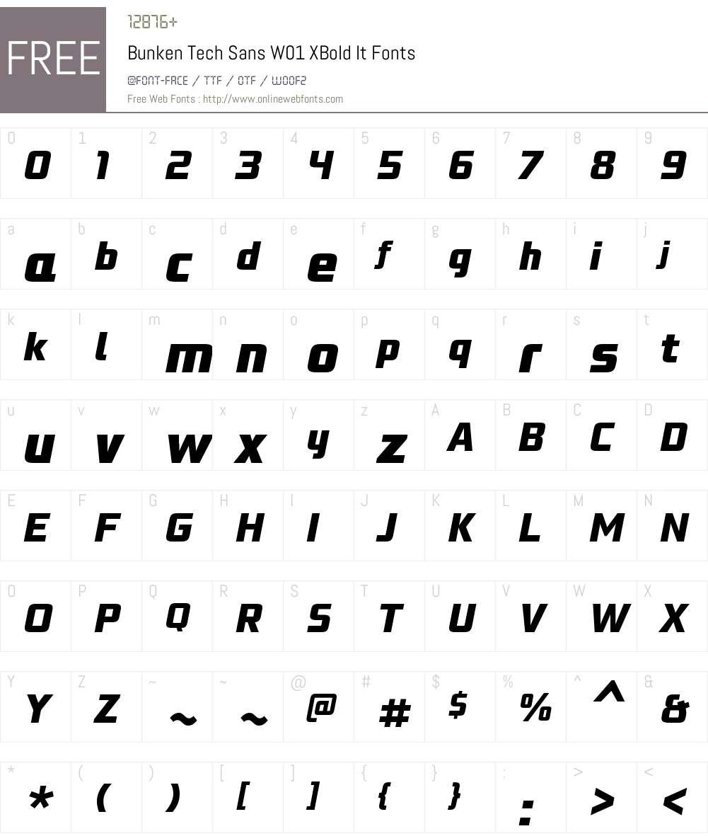 BunkenTechSansW01-XBoldIt Font Screenshots