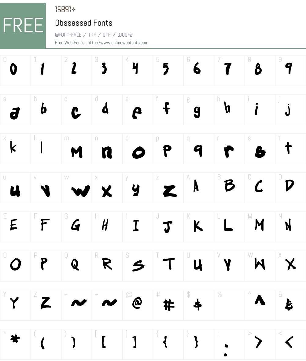 Obssessed Font Screenshots