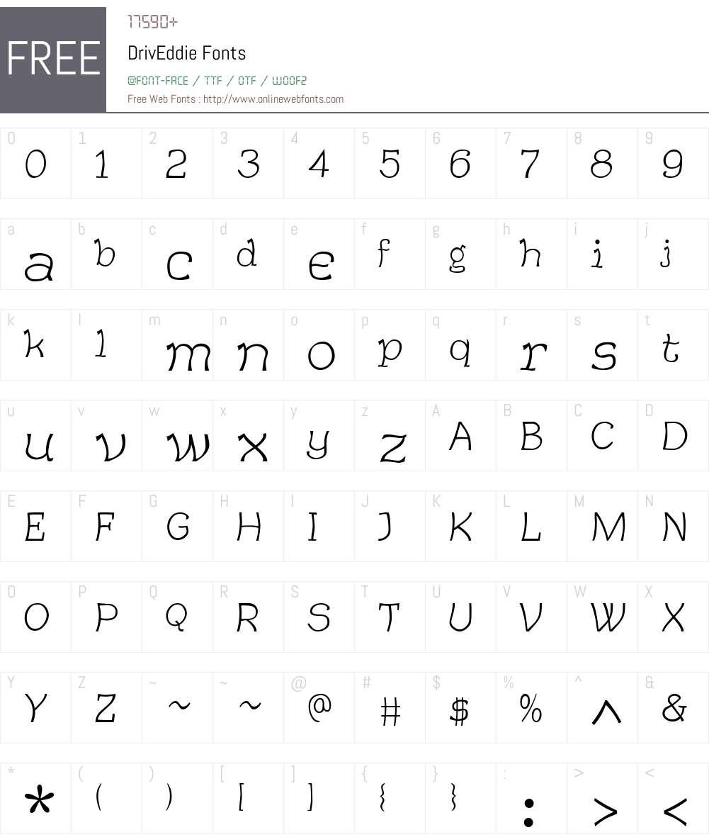 DrivEddie Font Screenshots