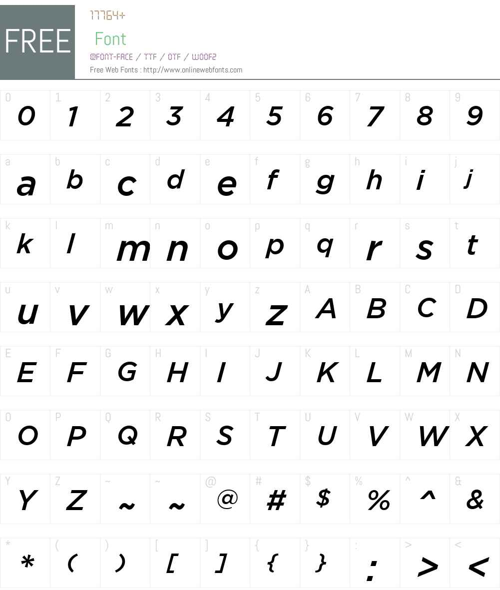 GothamHTF-MediumItalic Font Screenshots