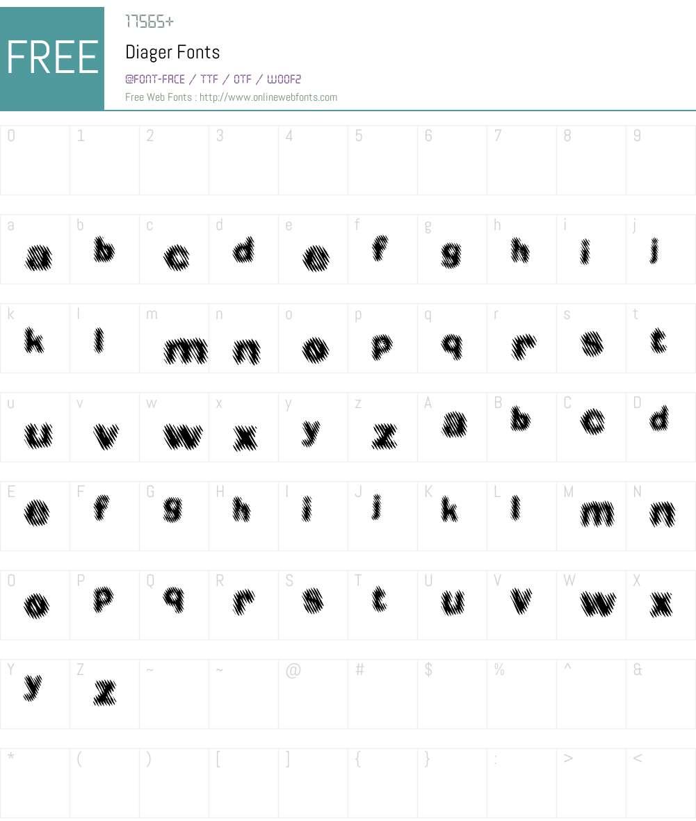 Diager Font Screenshots