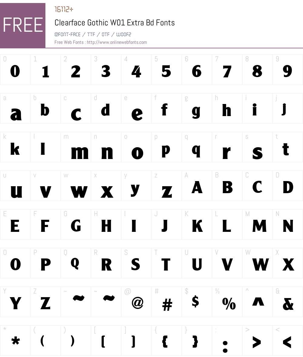 ClearfaceGothicW01-ExtraBd Font Screenshots