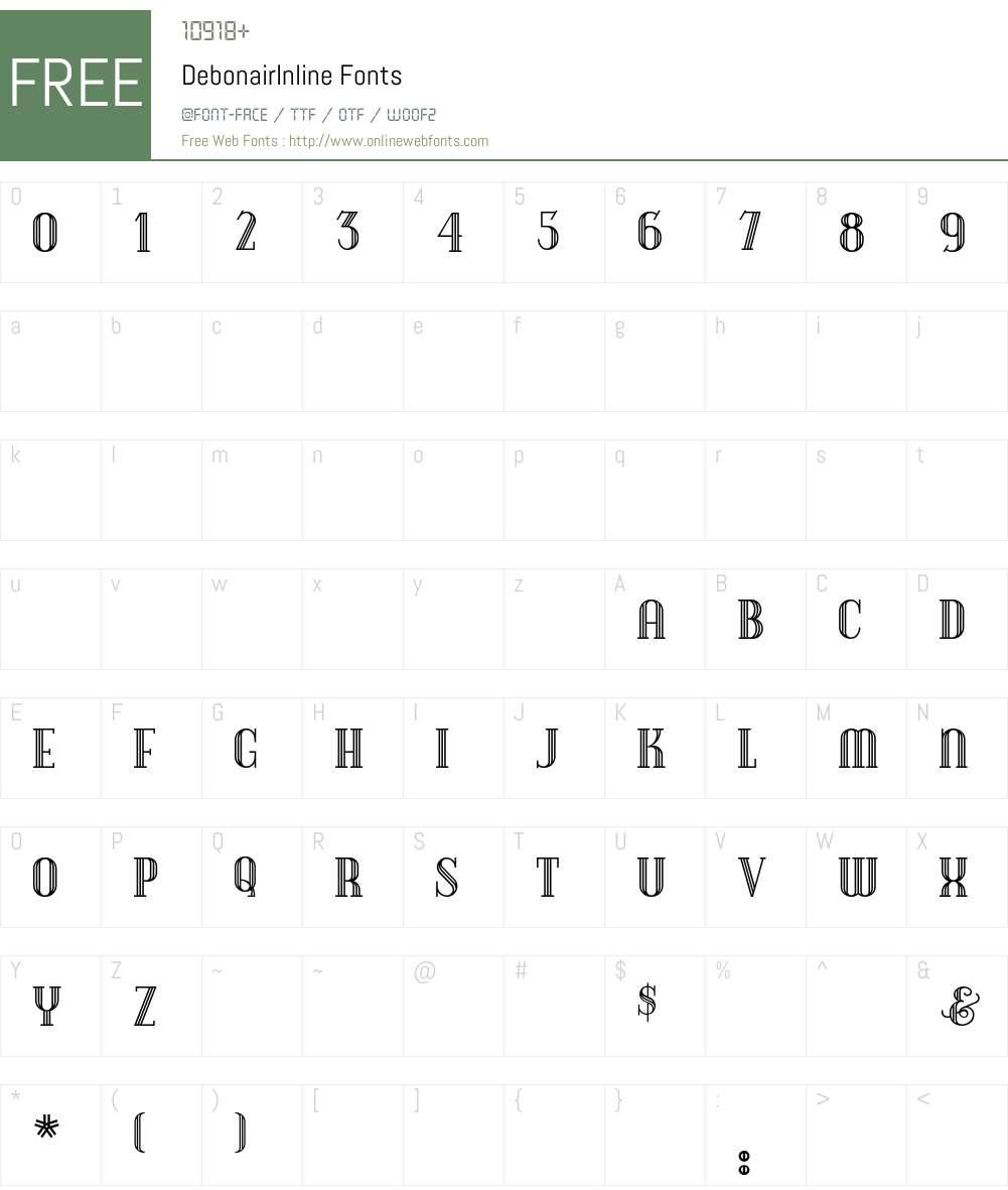 DebonairInline Font Screenshots