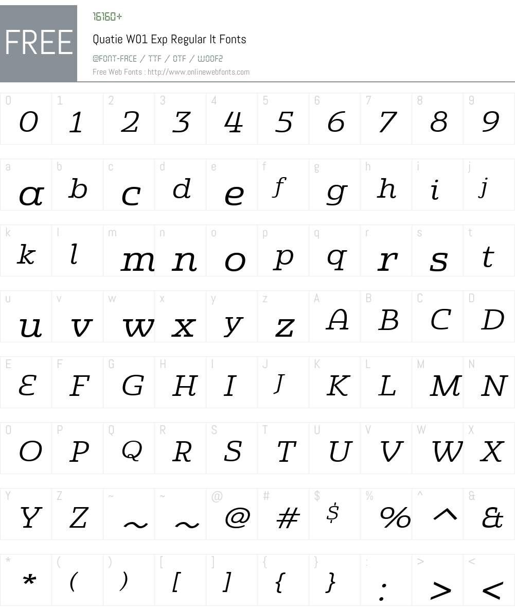 QuatieW01-ExpRegularIt Font Screenshots