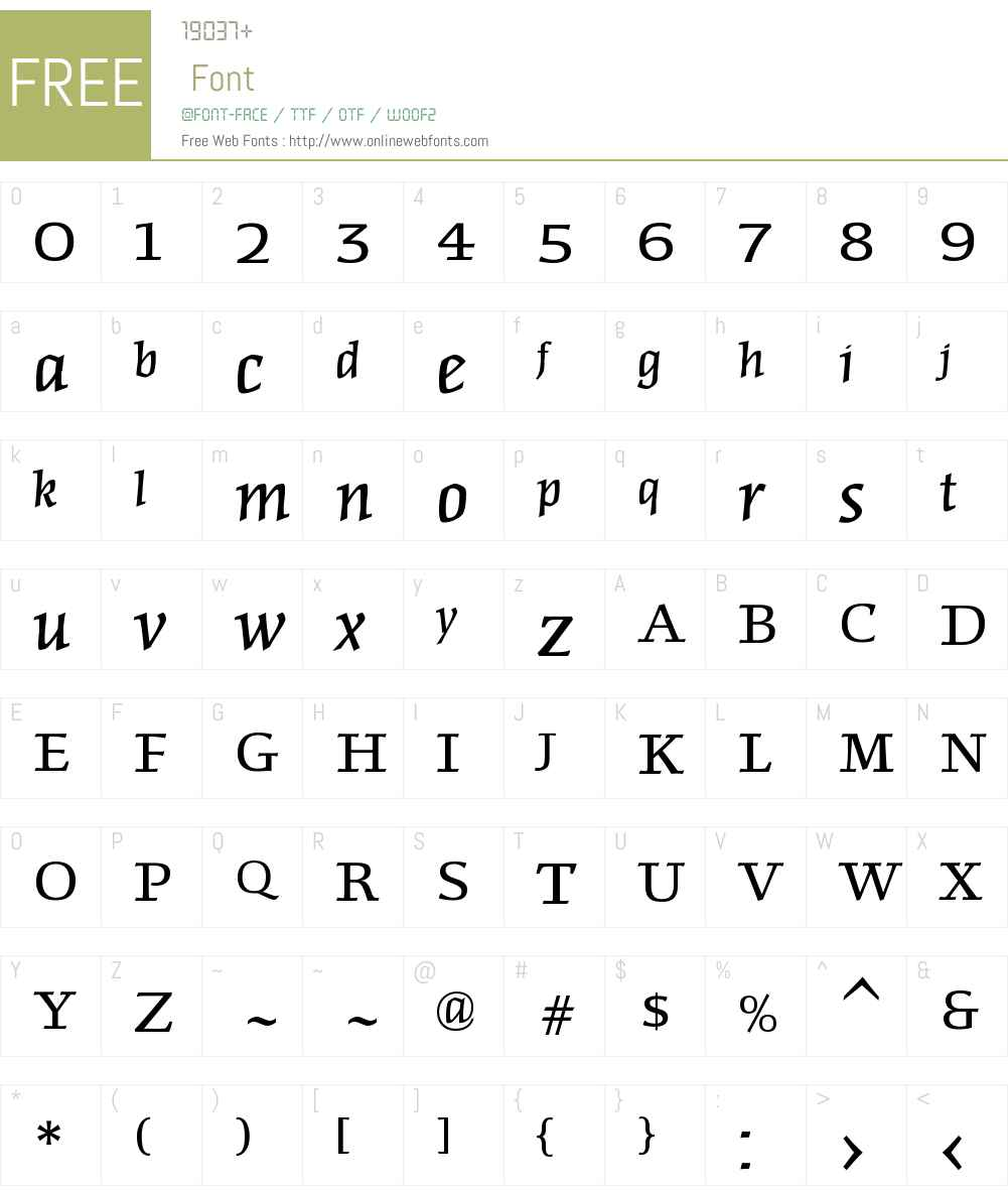 FriezeW00-Italic Font Screenshots