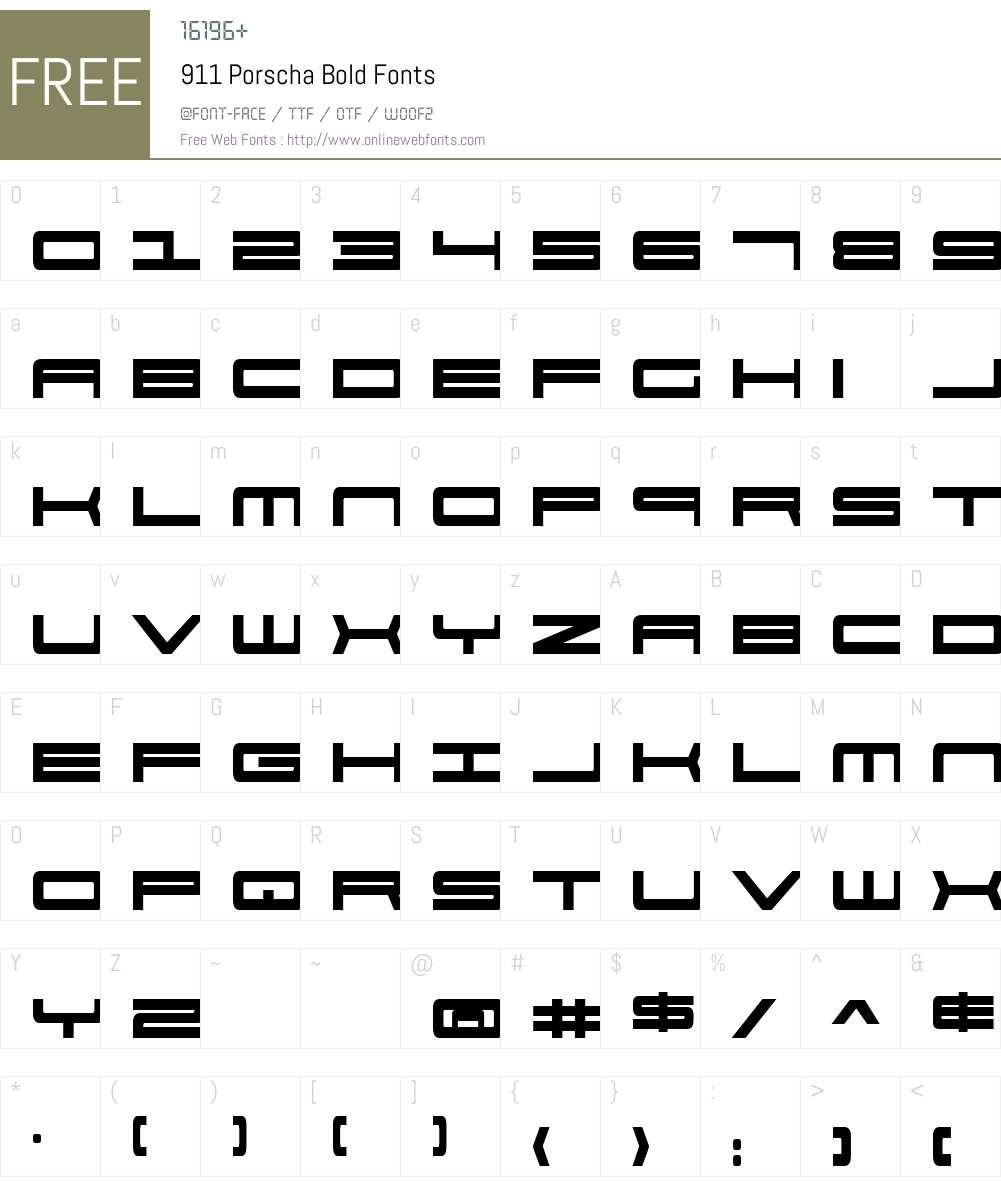 911 Porscha Bold Font Screenshots