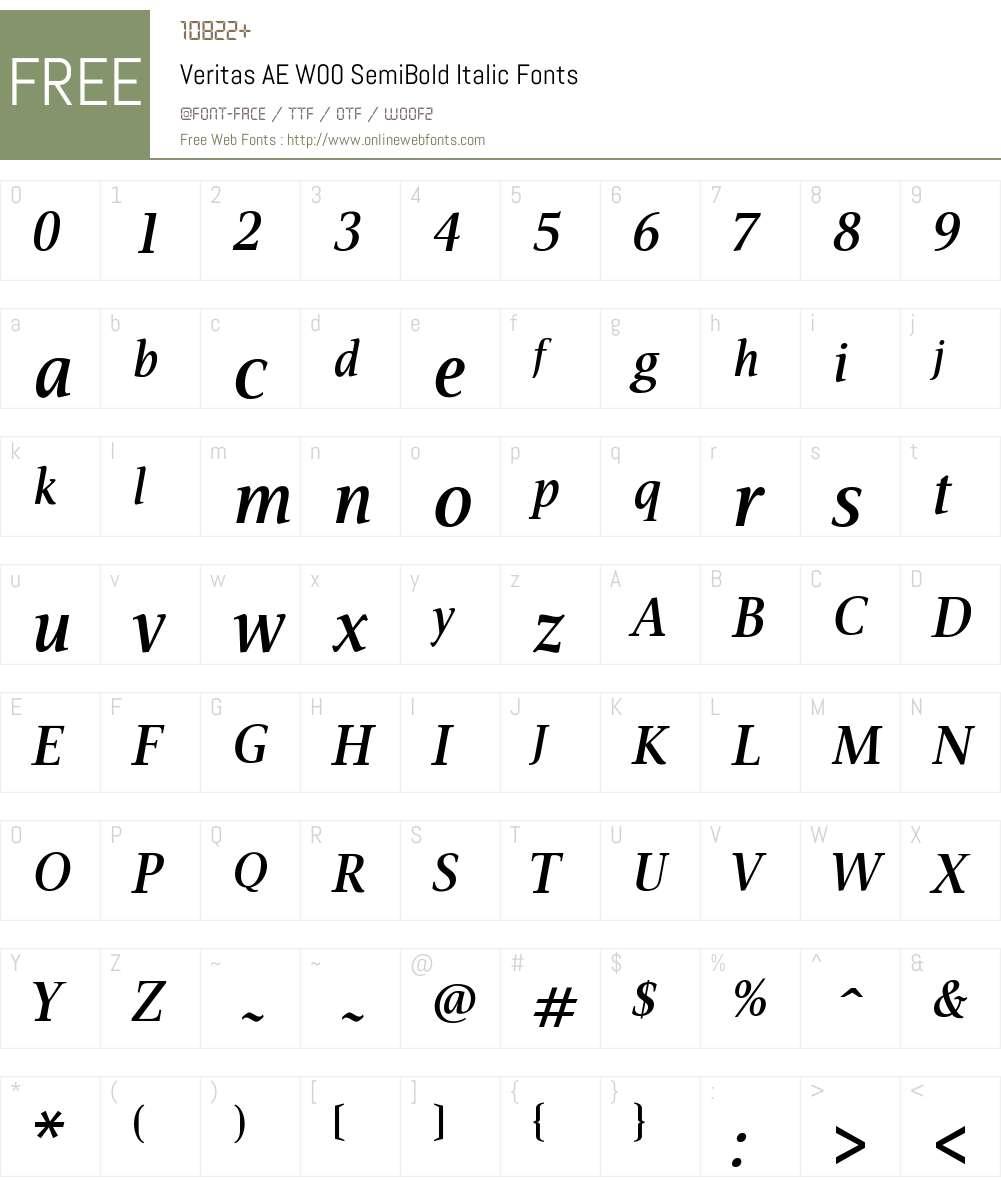VeritasAEW00-SemiBoldItalic Font Screenshots