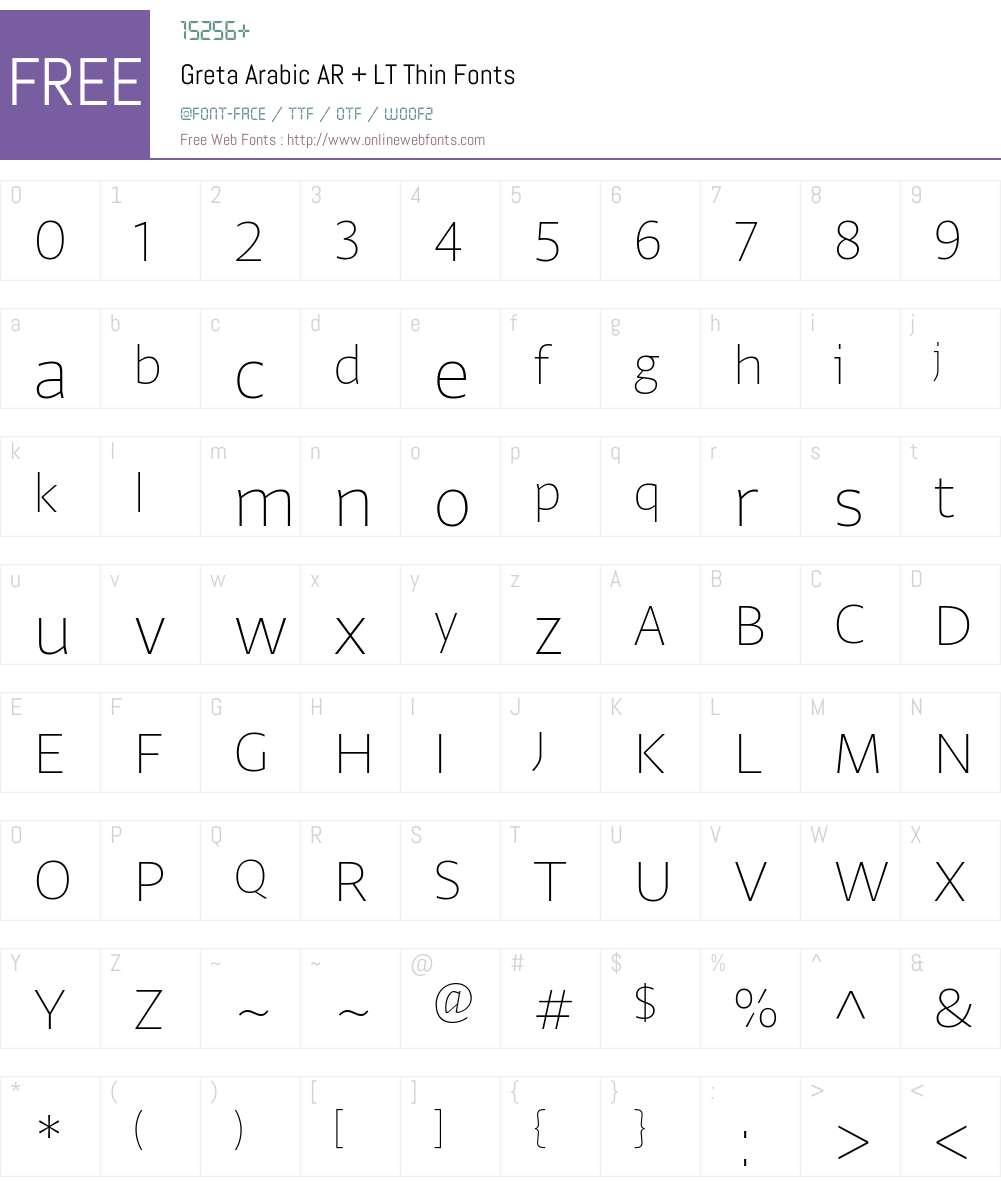 Greta Arabic AR + LT Thin Font Screenshots