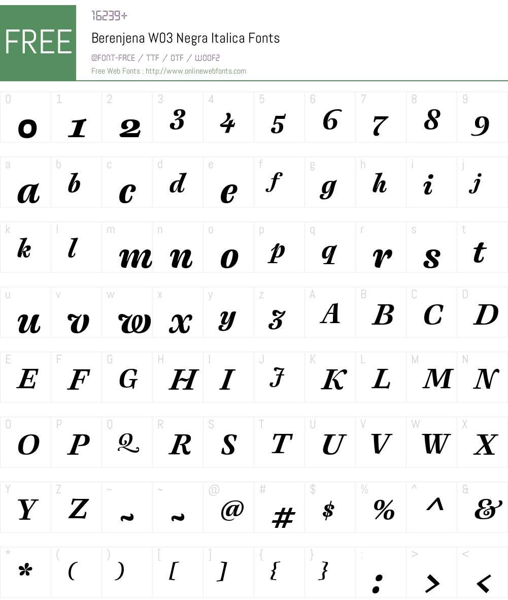 Berenjena Font Screenshots