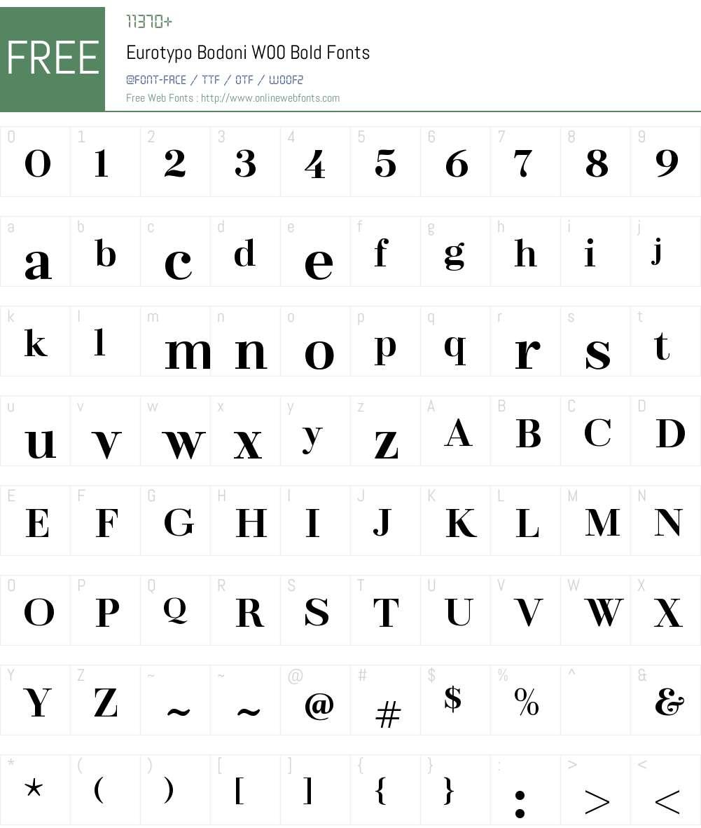EurotypoBodoniW00-Bold Font Screenshots