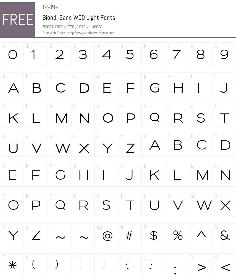 BiondiSansW00-Light Font Screenshots