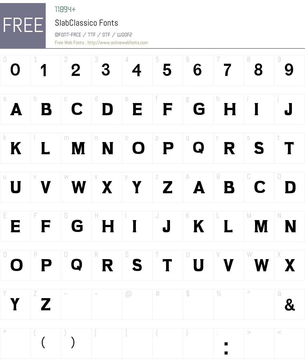 Slab Classico Font Screenshots