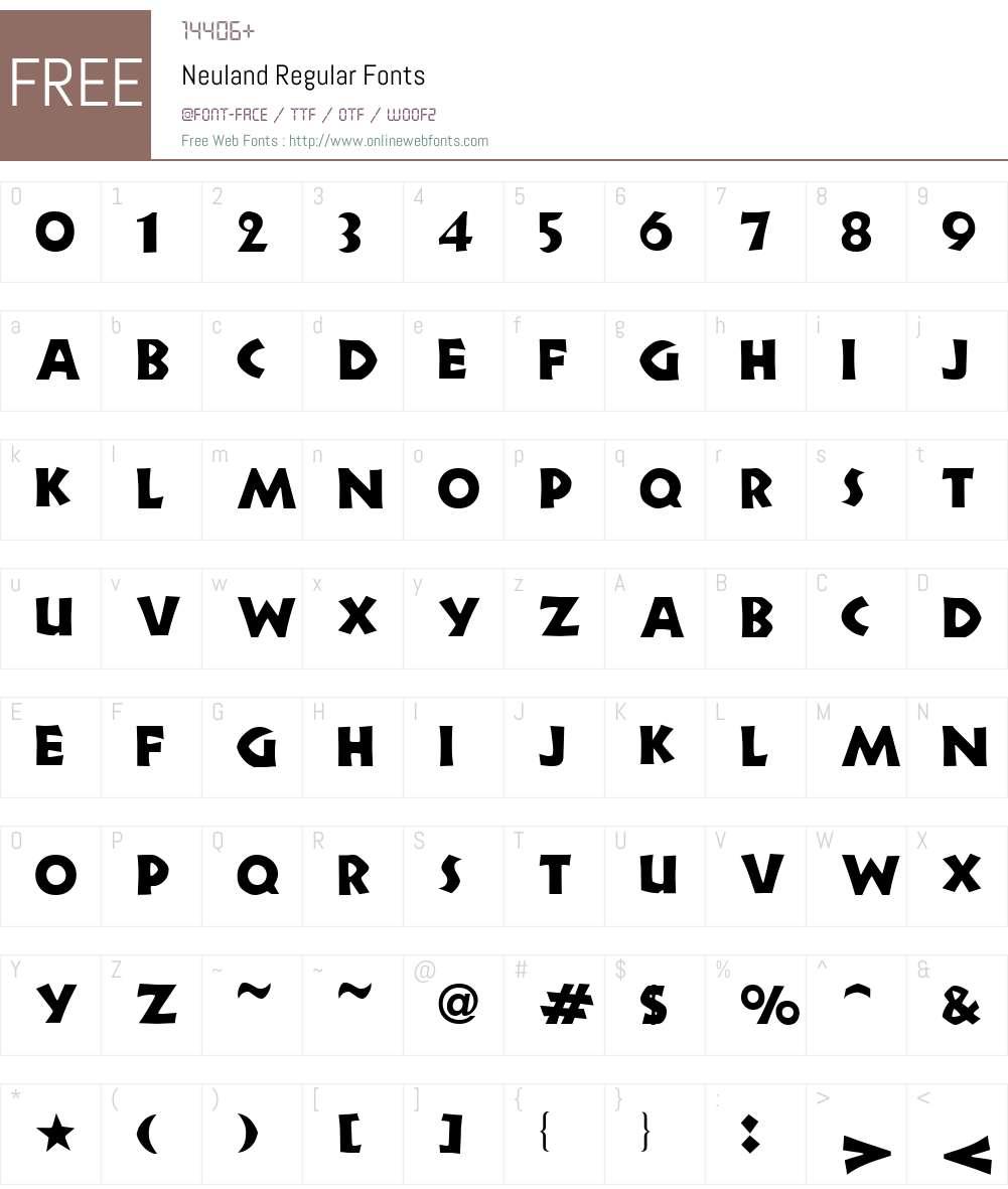 Neuland Font Screenshots