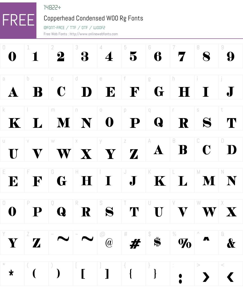 CopperheadCondensedW00-Rg Font Screenshots
