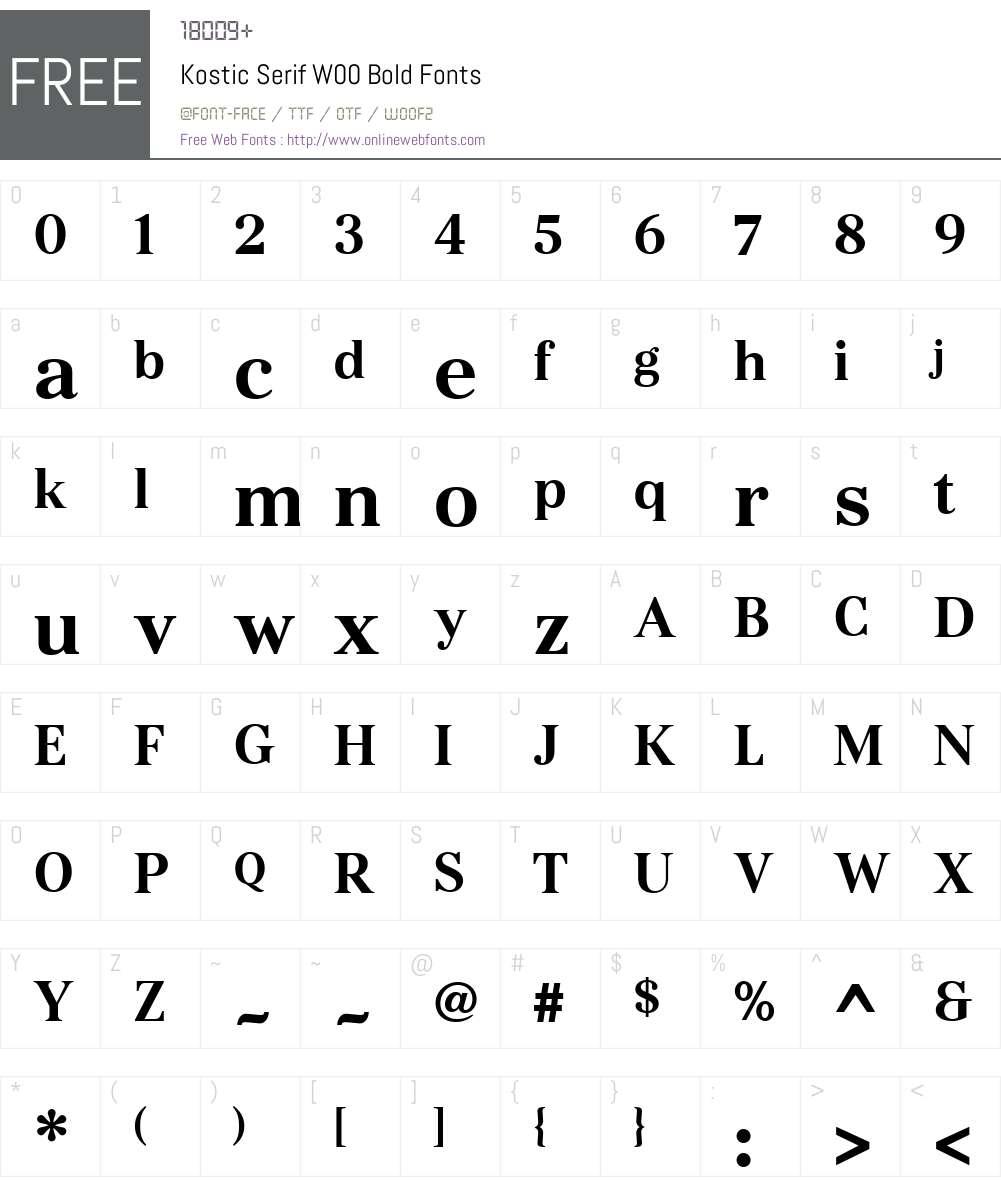 KosticSerifW00-Bold Font Screenshots