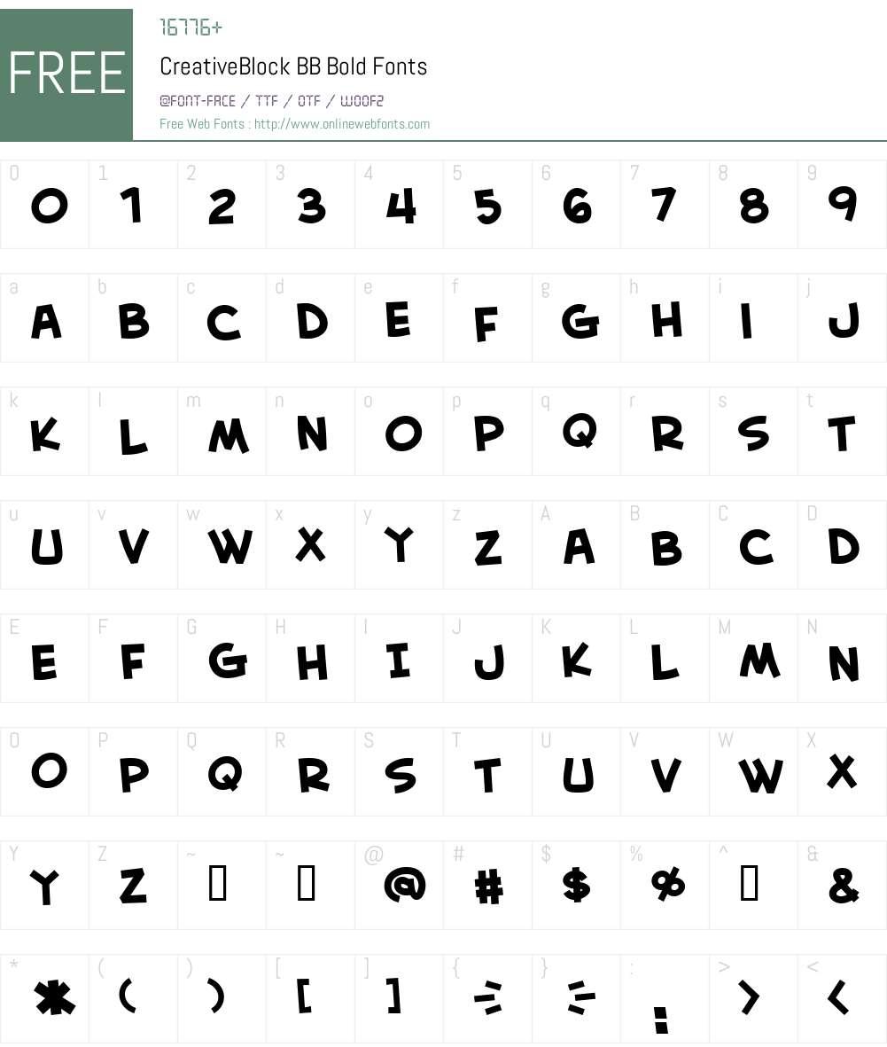 CreativeBlock BB Font Screenshots