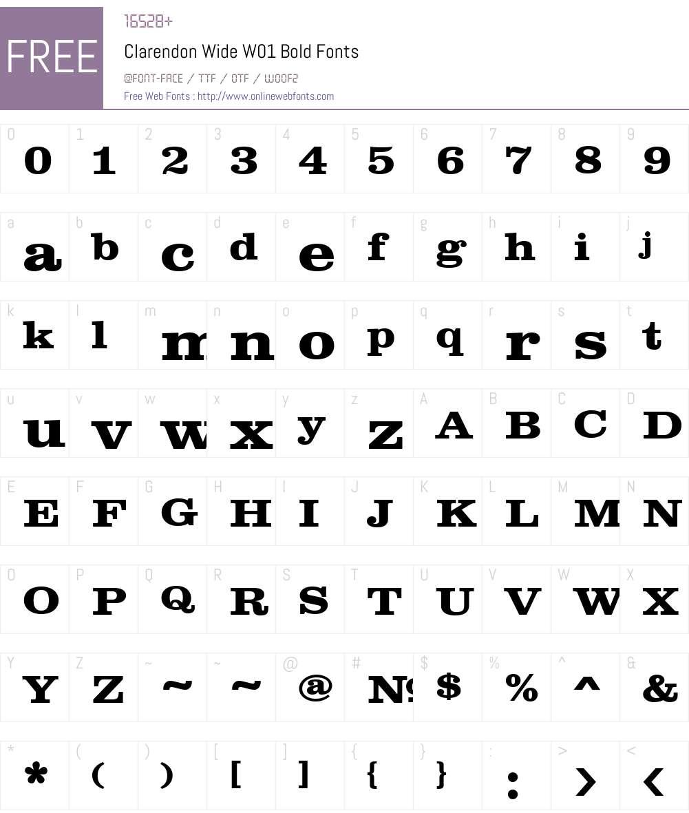 ClarendonWideW01-Bold Font Screenshots