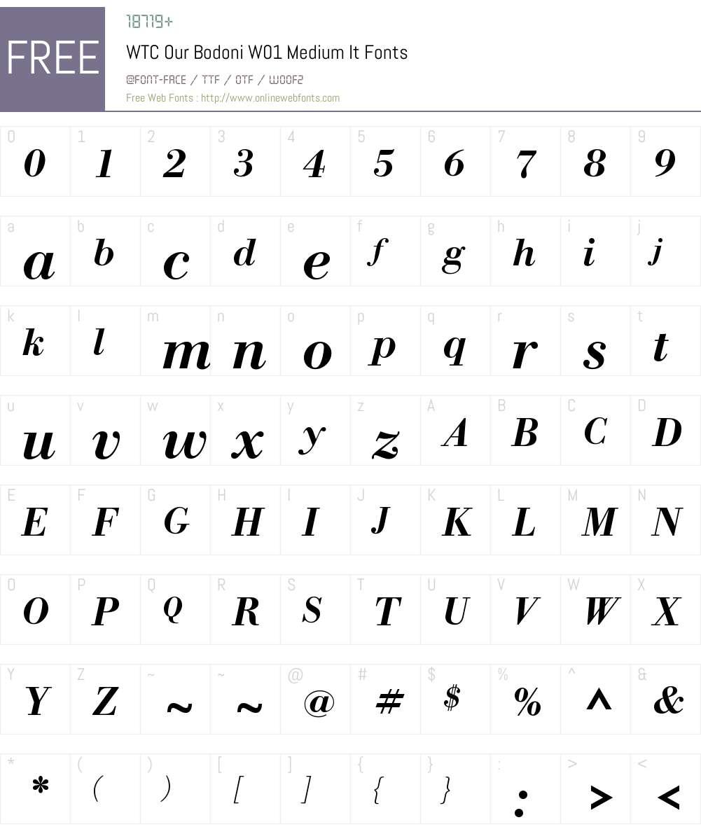 WTCOurBodoniW01-MediumIt Font Screenshots