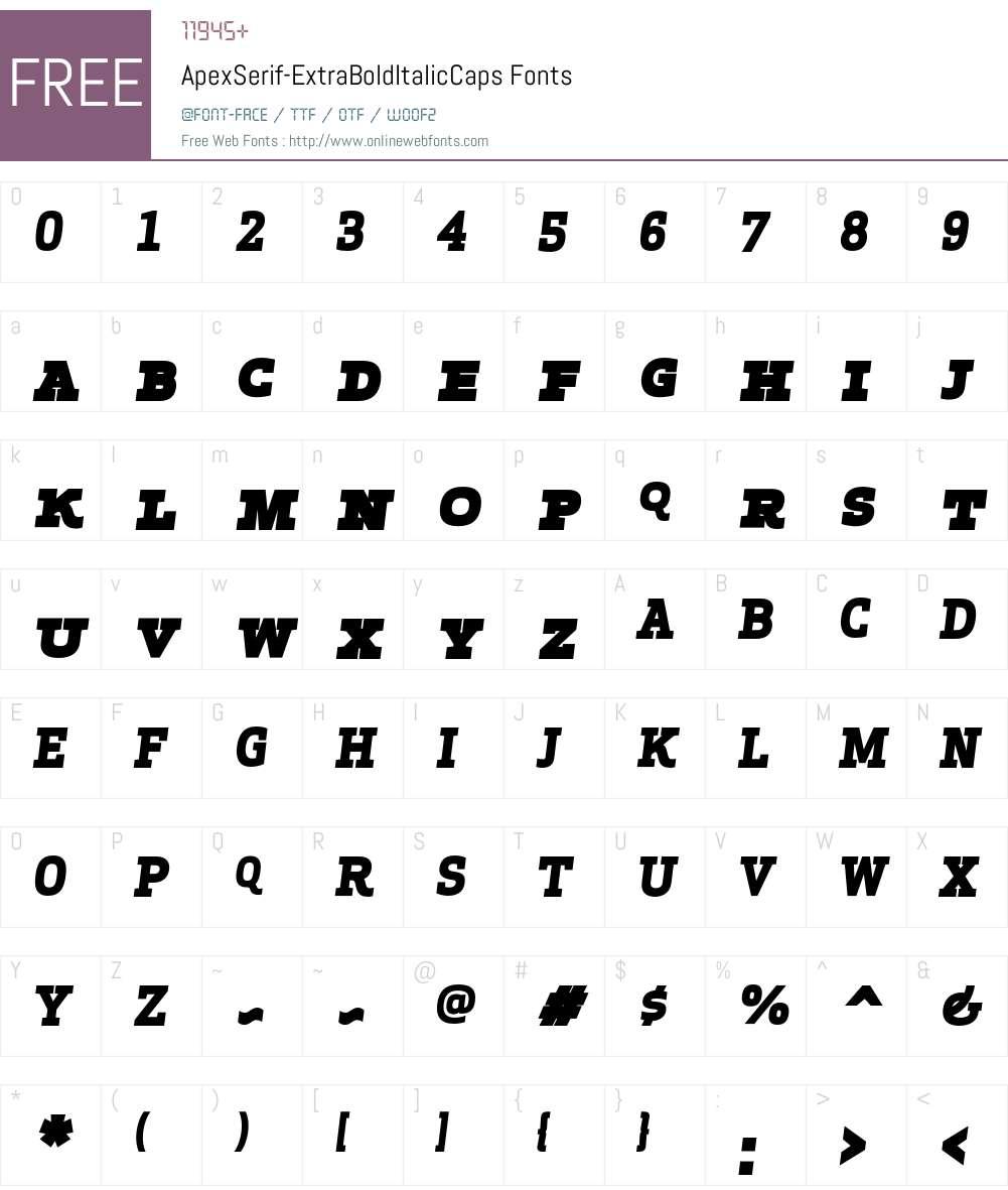 Apex Serif Extra Bold Italic Caps Font Screenshots