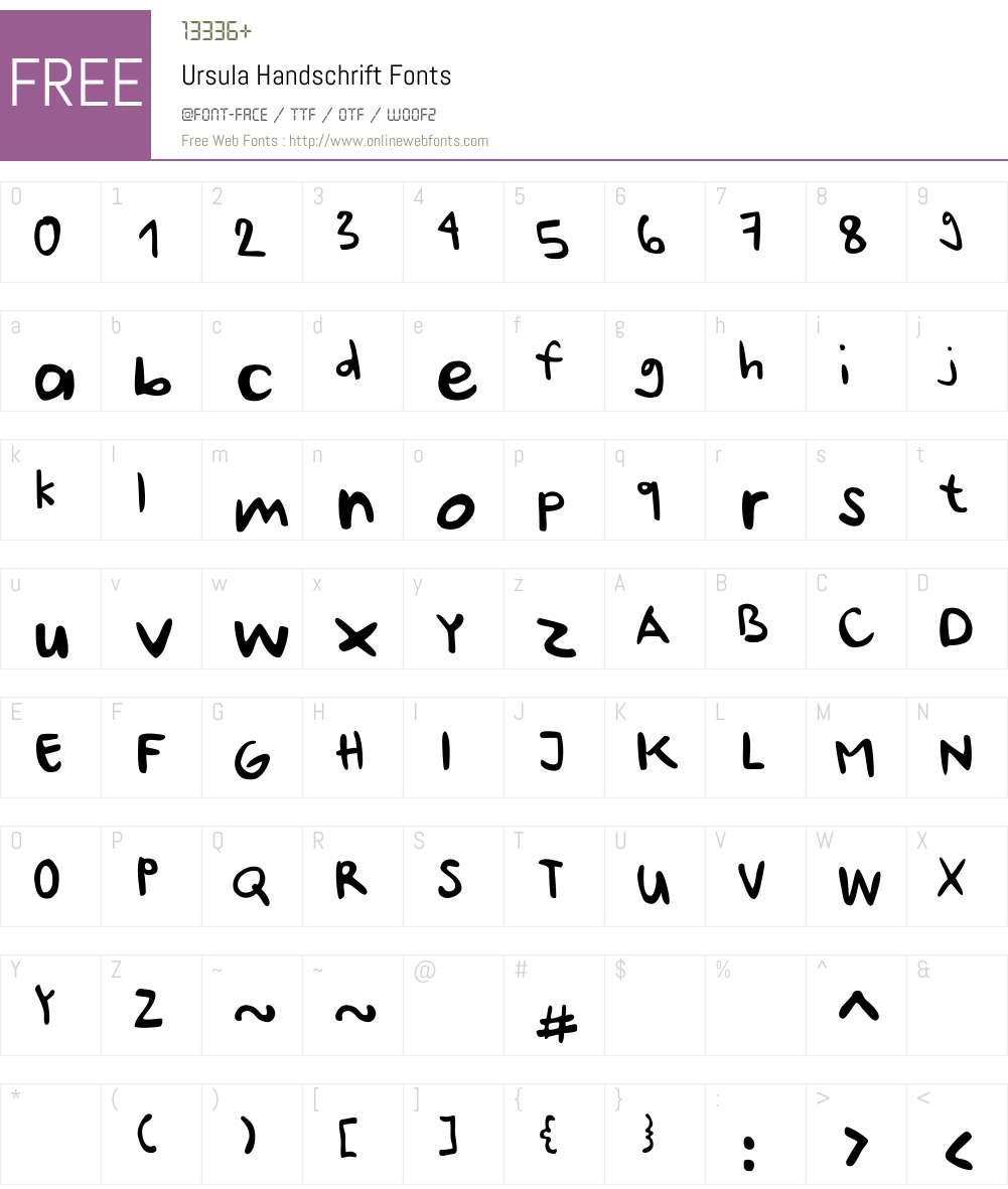 Ursula-Handschrift Font Screenshots