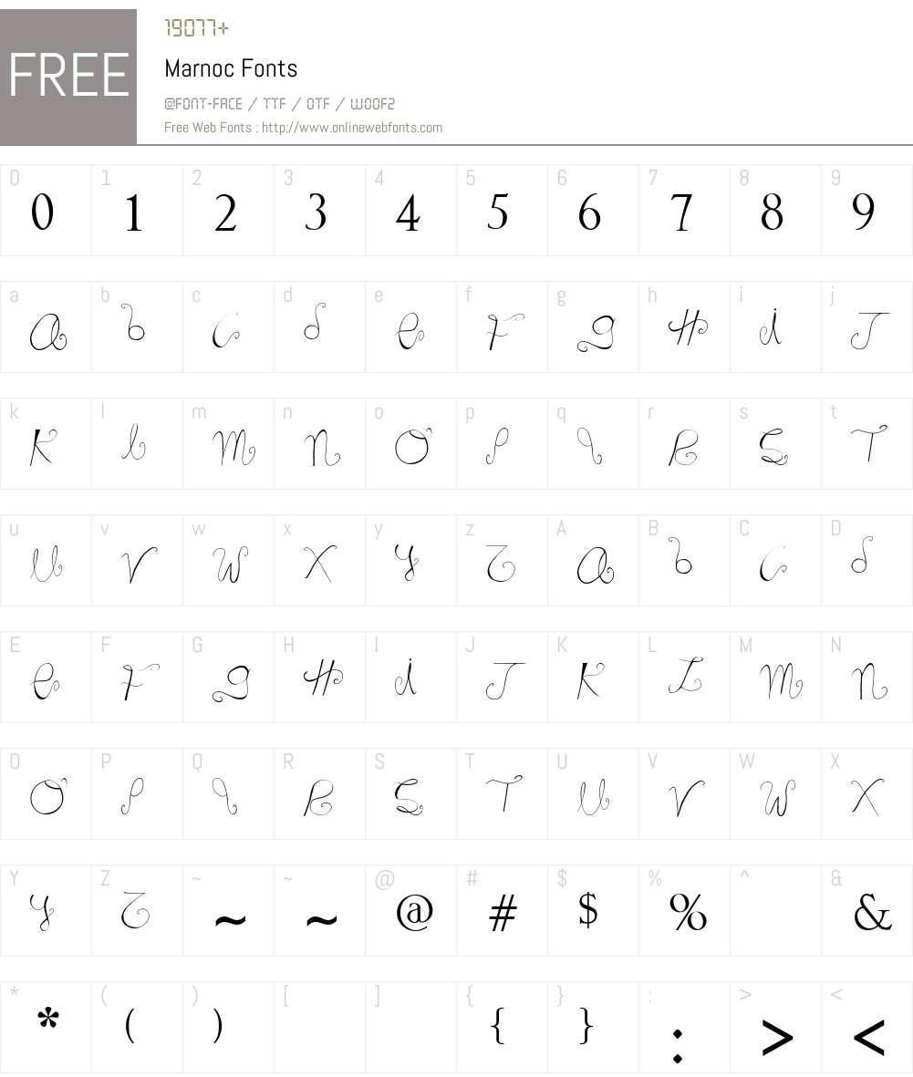 Marnoc Font Screenshots