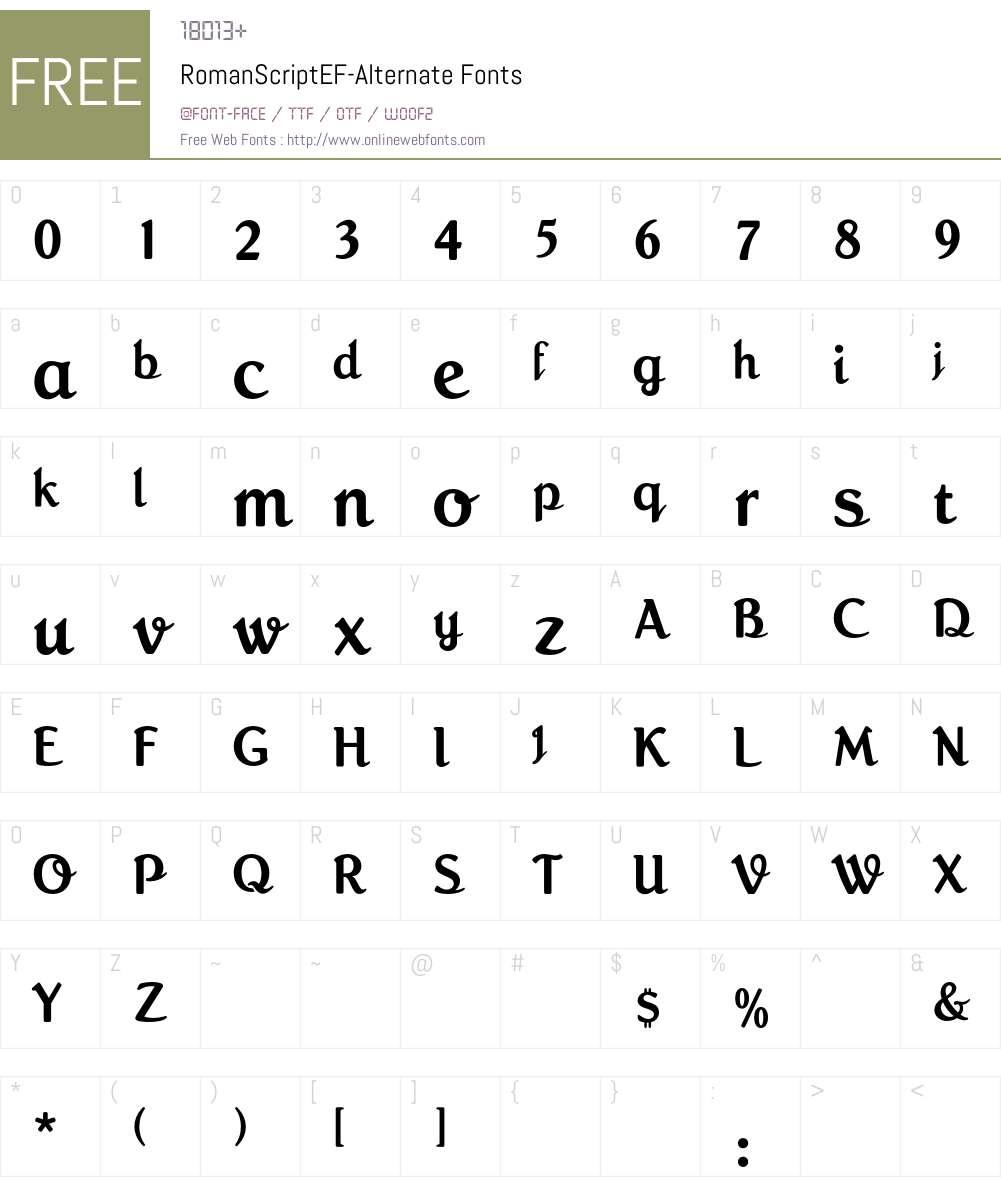 RomanScriptEF-Alternate Font Screenshots