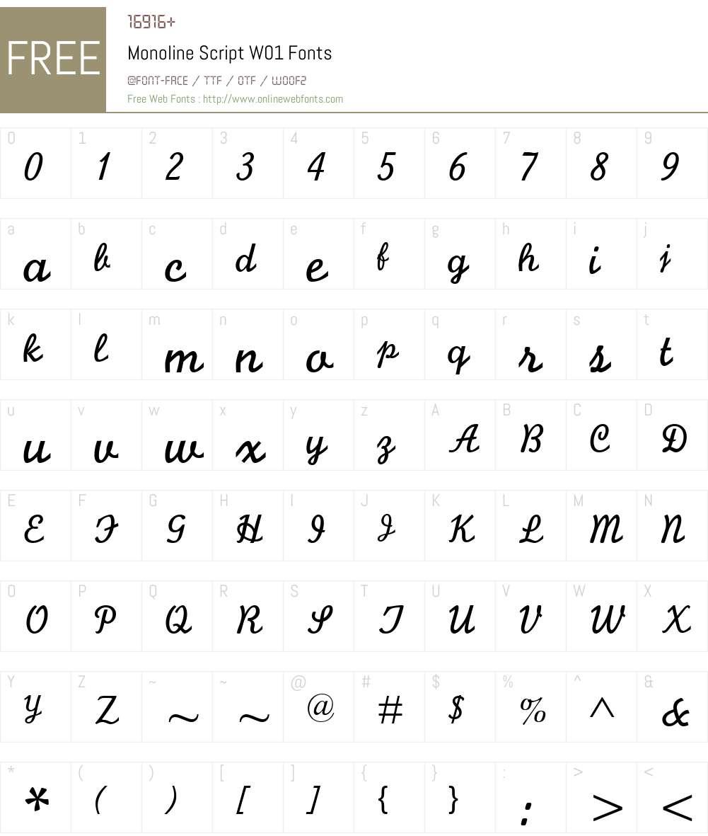 MonolineScriptW01 Font Screenshots