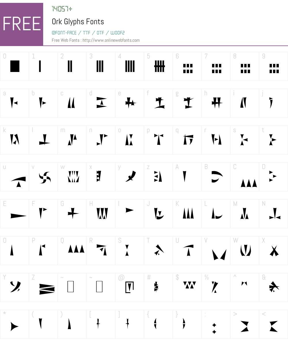 Ork Glyphs Font Screenshots