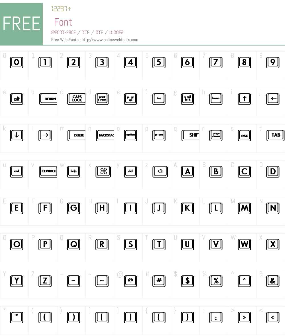Keyboard KeysBT Font Screenshots