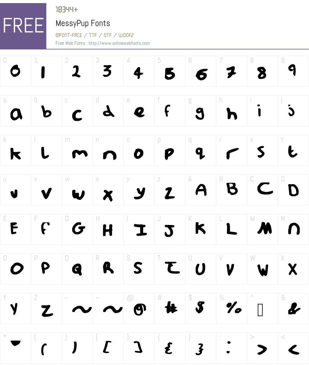 MessyPup Font Screenshots
