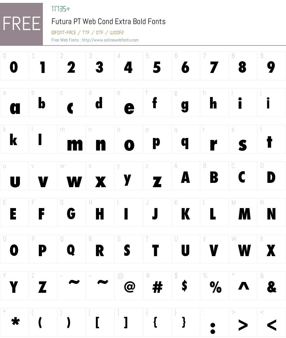 Futura PT Web Cond Extra Bold Font Screenshots