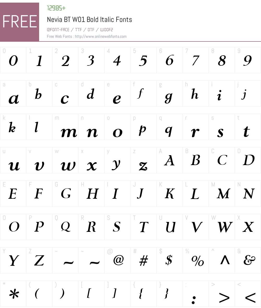 NeviaBTW01-BoldItalic Font Screenshots