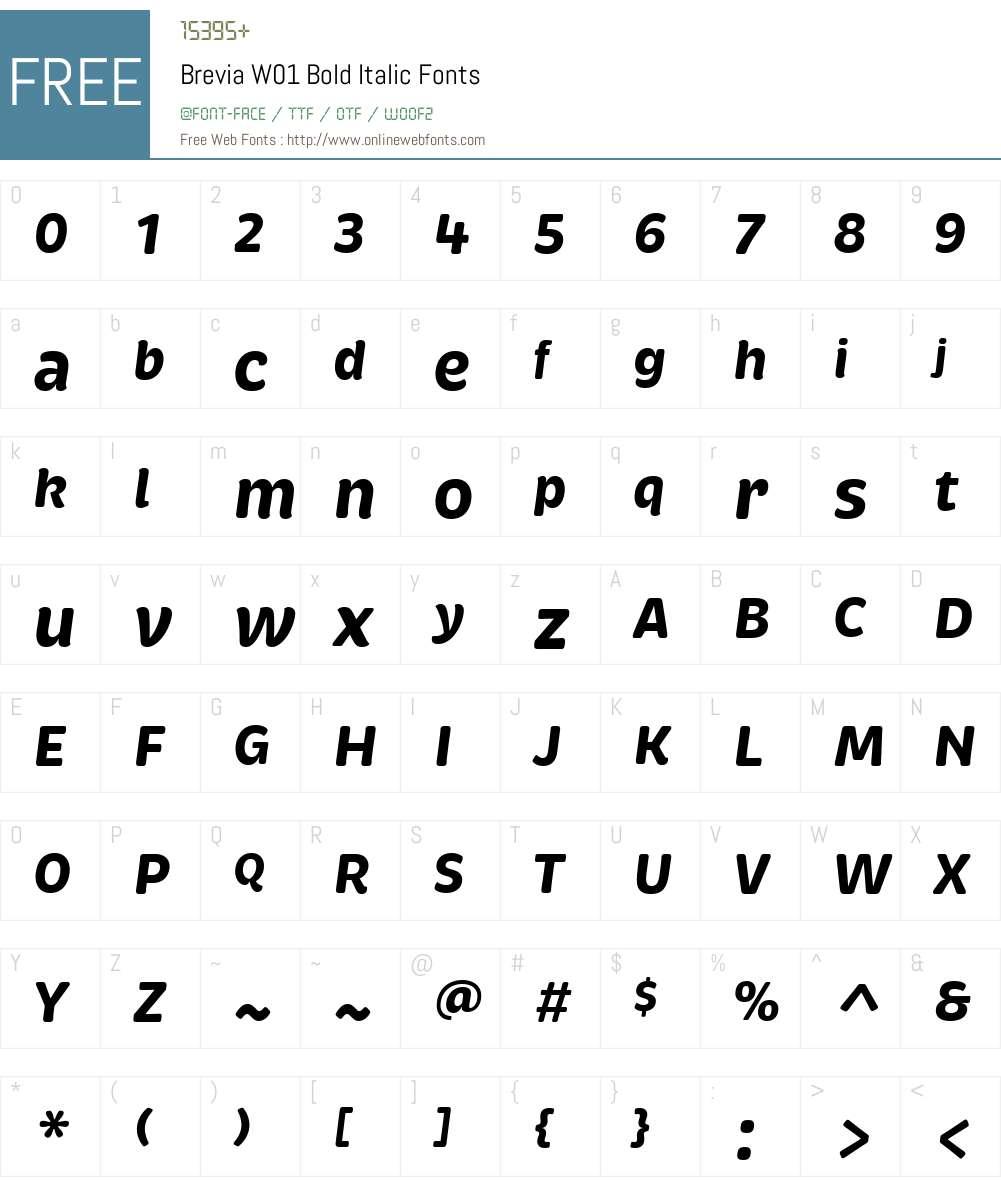 BreviaW01-BoldItalic Font Screenshots