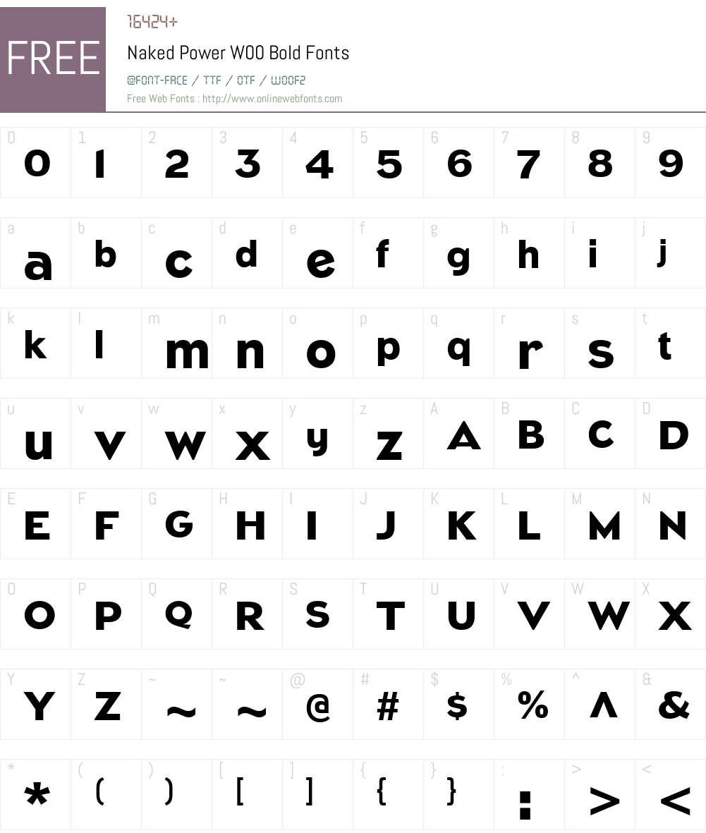NakedPowerW00-Bold Font Screenshots