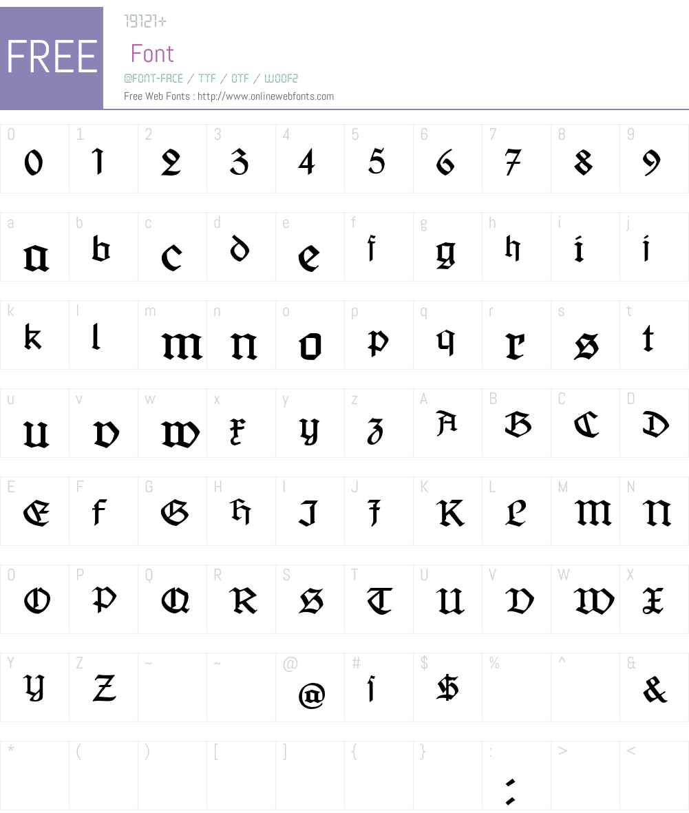 Jaecker-Schrift Font Screenshots