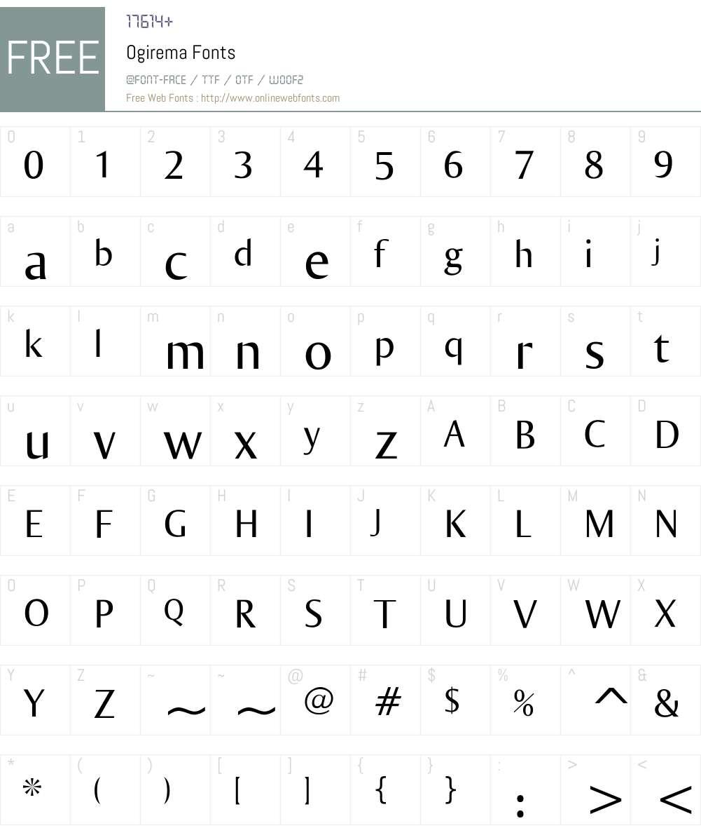 Ogirema Font Screenshots