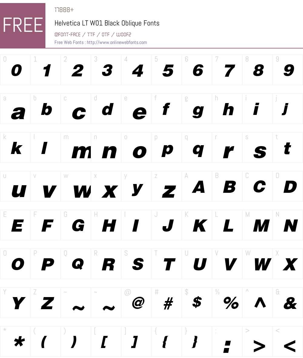 HelveticaLTW01-BlackOblique Font Screenshots