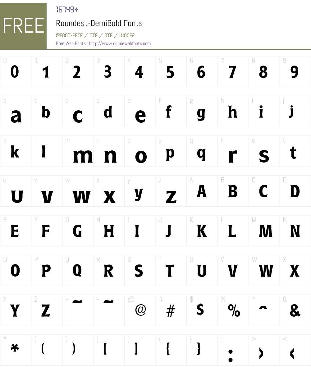 Roundest-DemiBold Font Screenshots
