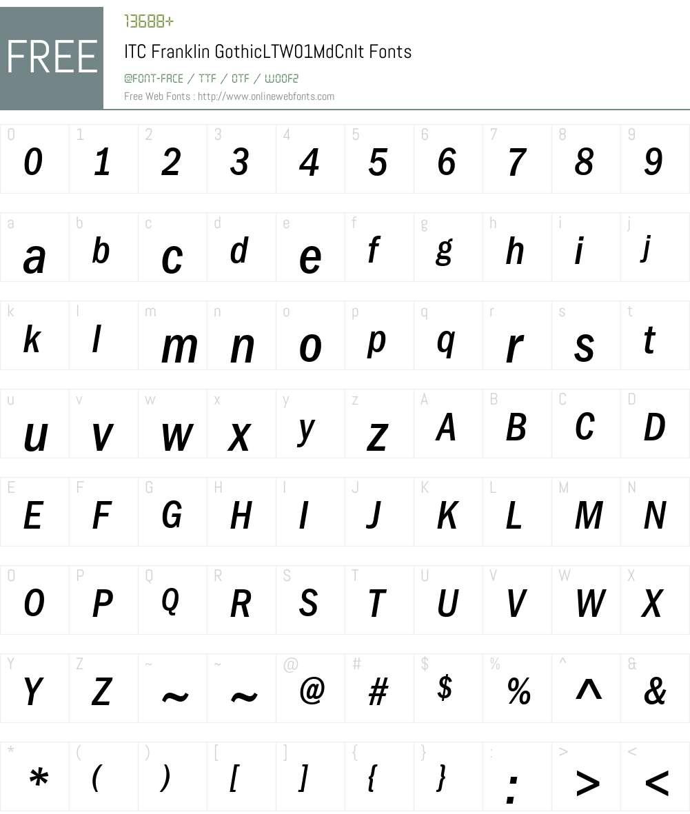 ITCFranklinGothicLTW01-MdCnIt Font Screenshots